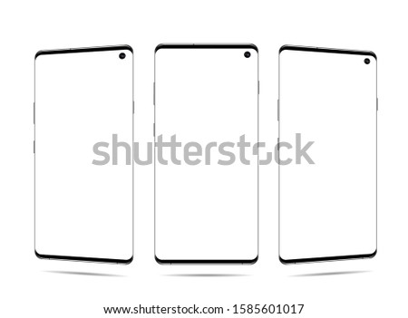 smartphone vector with blank screen, front view, It located obliquely, turn on the diagonal, isolated on white Foto stock ©