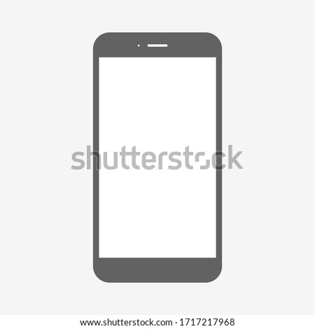 smartphone vector with blank white screen isolated on grey background