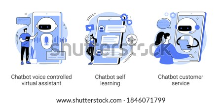 Smartphone voice application abstract concept vector illustration set. Chatbot voice controlled virtual assistant, machine self learning and customer service, AI in ecommerce abstract metaphor.