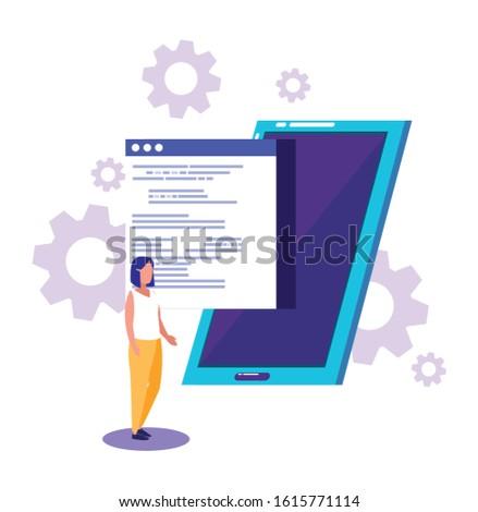 Smartphone website and woman design, Digital technology communication social media internet web and cellular theme Vector illustration
