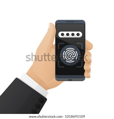Smartphone with a password field and a fingerprint scanner application is in the businessman's hand. Vector illustration isolated on a white background Stock fotó ©