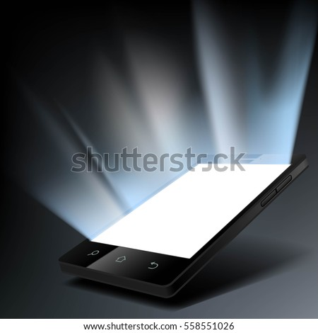 Smartphone with a white glowing screen. Stock vector illustration
