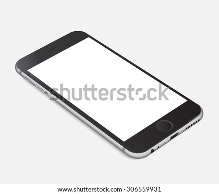 Smartphone with blank screen lying on flat surface, isolated on white background - high detailed realistic eps 10 vector illustration