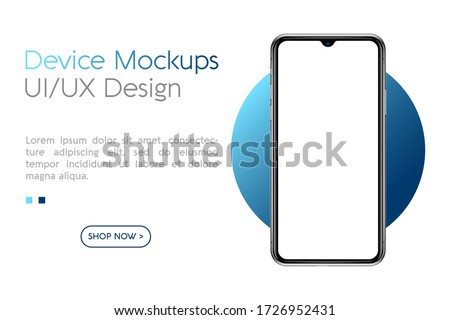 Smartphone with blank screen. Realistick cell phone can be a template for infographics or presentation of interface. Frame less smartphone. Vector Illustration UI/UX design