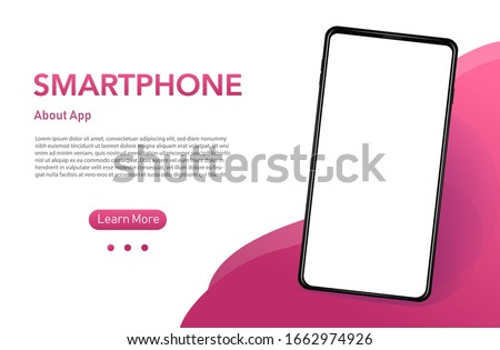 Smartphone with blank screen with pink tones Realistick cell phone can be a template for infographics or presentation of interface. Frame less smartphone. Vector Illustration UI/UX design