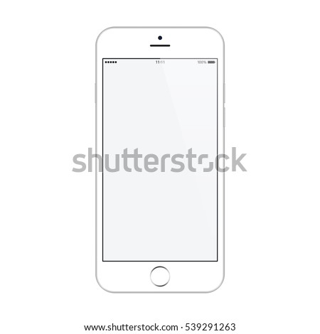 smartphone with blank touch screen and flare isolated on white background. realistic and detailed mobile phone mockup. stock vector illustration