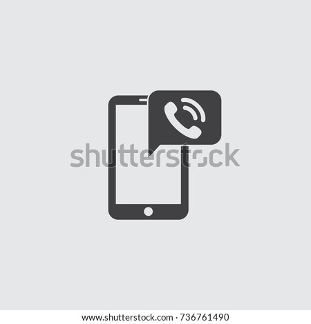Smartphone with call icon in a flat design in black color. Vector illustration eps10