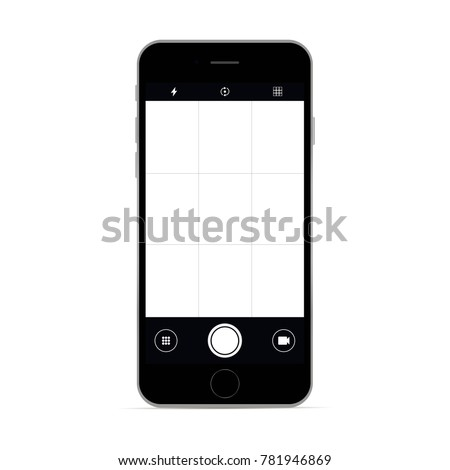 Smartphone with camera app screen. Vector illustration