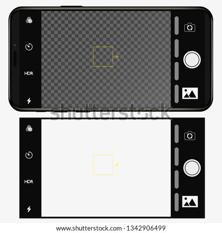 smartphone with camera application. user interface of camera viewfinder. Vector illustration flat style
