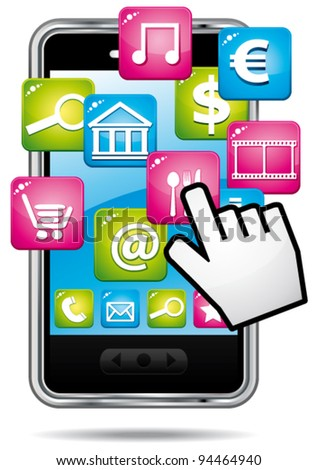 Smartphone with cloud of applications and hand cursor. Vector icon.