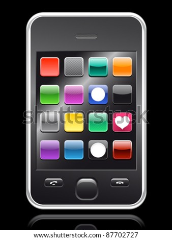 smartphone with colorful app collection on black background