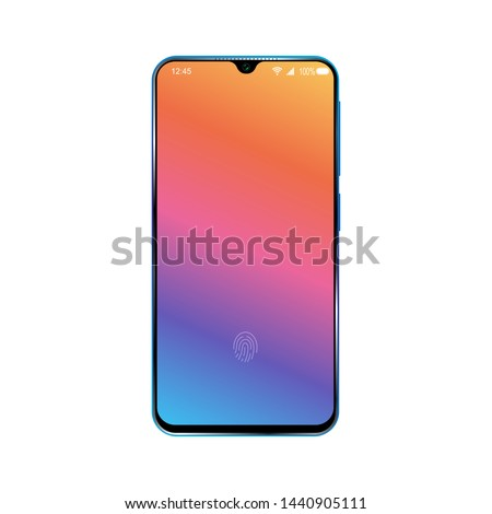 Smartphone with colorful locked screen. Design of modern cellphone. Isolated on white background. Vector illustration.
