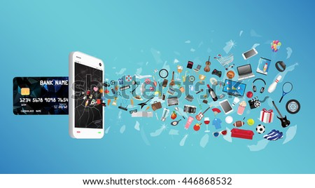 smartphone with credit card and general object floating