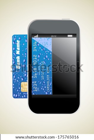 smartphone with credit card, concept digital payment