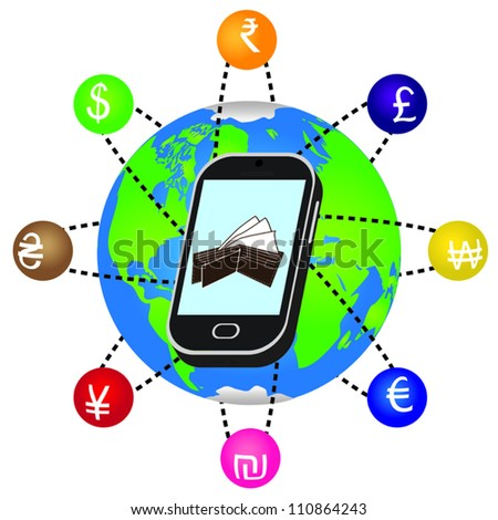 Smartphone with currency symbols orbiting the earth.