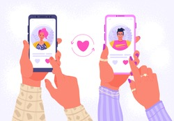 Smartphone with dating application that help people find love. Hands holding mobile with man and woman profile. Romance app, virtual relationship , communication, social media concept.