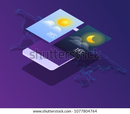 smartphone with day and night widgets vector isometric