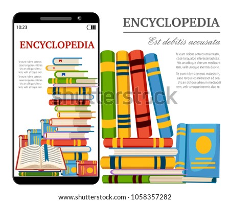 Smartphone with digital books. Online library concept. Read encyclopedia in web. Cartoon style design. Vector illustration isolated on white background website page and mobile app design.