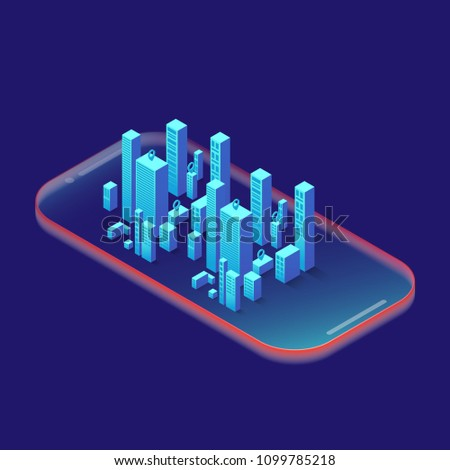 Smartphone with graphs in isometric design style on colored background. Graphic concept for your design.