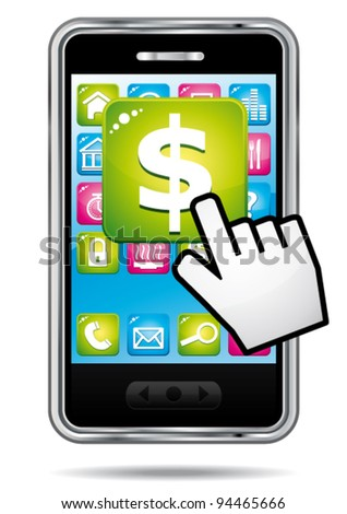 Smartphone with hand cursor opening banking application in dollars.