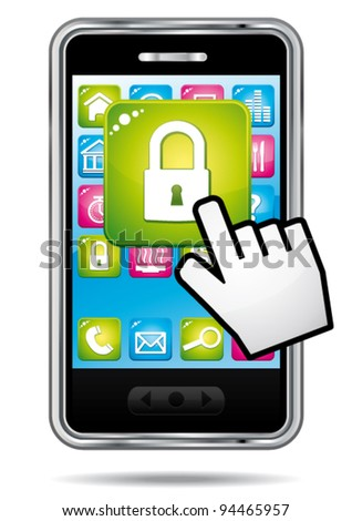 Smartphone with hand cursor opening security app icon. Data protection concept. Vector icon.