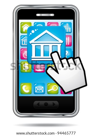 Smartphone with hand cursor opening stock exchange application. Vector finance icon.