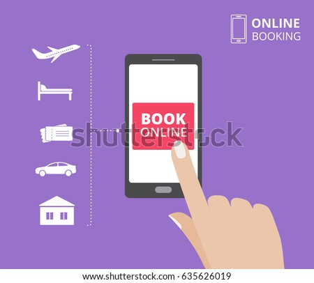 Smartphone with hand touching book button on screen. Online booking design concept for mobile phone: hotel, flight, car, tickets.