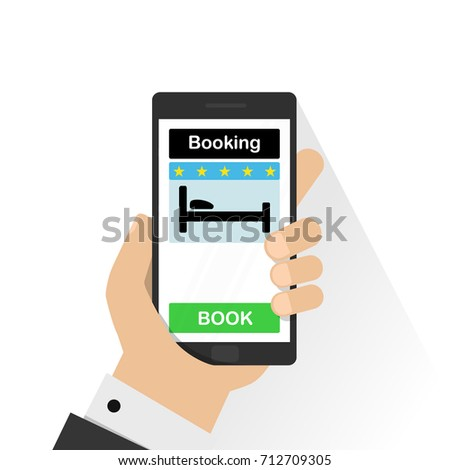 Smartphone with hand touching book button on screen. Online booking design concept for mobile phone: hotel, flight, car, tickets, vector