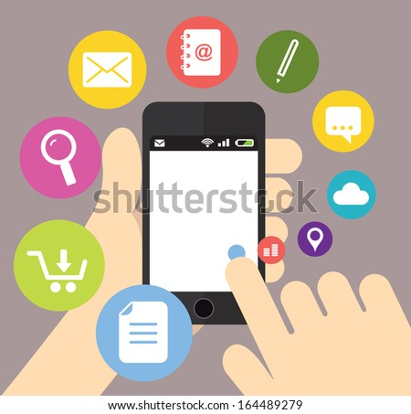 Smartphone with icons