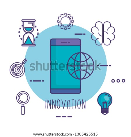 smartphone with innovation icons