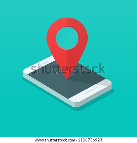 Smartphone with map pin pointer vector illustration, flat cartoon isometric mobile phone with destination marker, concept of gps location point on cellphone, travel technology, internet position