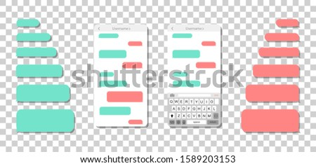 Smartphone with messages on a transparent background. Empty message bubbles.