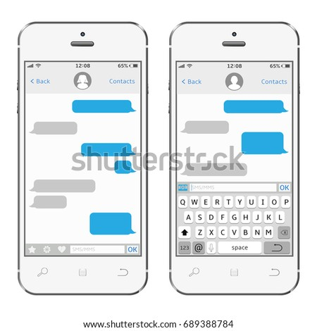Smartphone with messaging sms app. Messenger window. Chating and messaging concept. Vector.