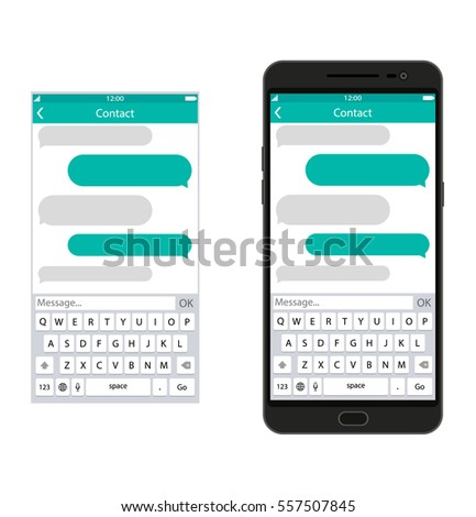 Smartphone with messaging sms app, vector illustration in flat style