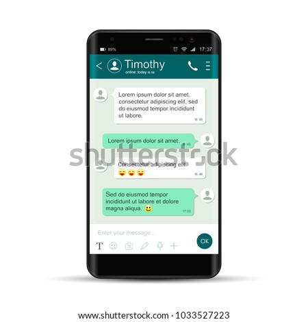Smartphone with messenger on monitor. Chatting and messaging. Social network concept. Realistic vector isolated phone.