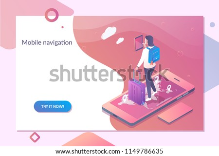 Smartphone with mobile navigation app on screen. Online Navigation template in isometric vector