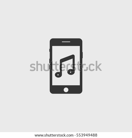 Smartphone with music  icon illustration isolated vector sign symbol