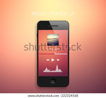 Smartphone with music media player interface template and blurred background, elegant design. Clean and modern style. Multimedia, technology, application, mp3, audio, touch, equalizer, radio
