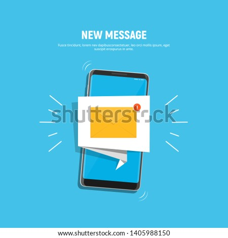 Smartphone with notification icon on screen. Icon new message on mobile phone screen. Mobile notification, email application. Vector illustration in flat style.
