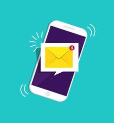 Smartphone with notification sms on screen.Alert of new message mail on mobile phone. Unread sms message on screen of cellphone. Reminder inbox notice in app. 3d flat design vector illustration
