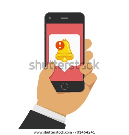 Smartphone with notifications icon in businessman hand. New notification (Bell of Notice) on mobile phone screen. Vector illustration of new message or other notice. Flat style. EPS 10.