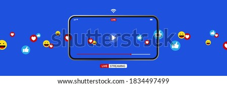 smartphone with online live streaming, video player interface and full of positive feedbacks, like icon, love icon and smile icon, concept of social media and work from home as new normal