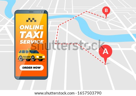 Smartphone with online taxi ordering service app concept. Cab transfer route and geotag gps location pin arrival address on city map. Get taxicab positioning application flat vector illustration