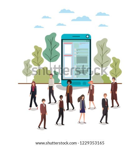 smartphone with people around avatar character #1229353165