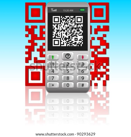 Smartphone with QR code.