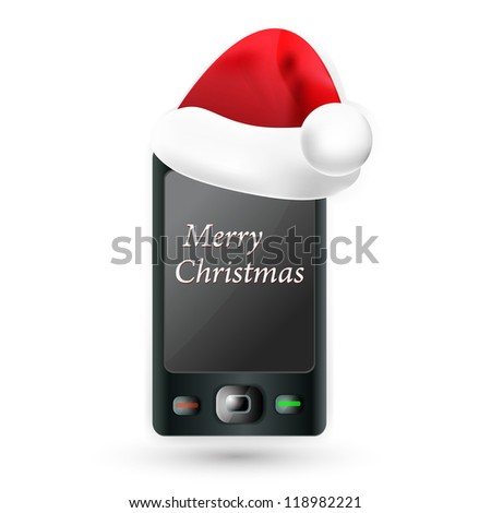 smartphone with Santa's red hat. Mobile Phone - Christmas.. Vector illustration. - stock vector