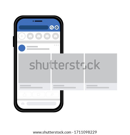 Smartphone with social media interface, photo carousel post on social network. Mock up of basic user newsline. Vector illustration