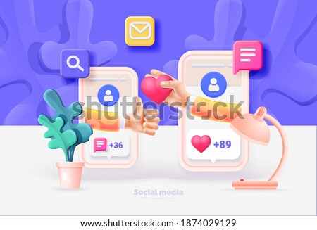 Smartphone with social media UI. Phone template. Interaction between people through social networks. Social network user interface with new likes, comments, followers. Vector illustration 3d style.