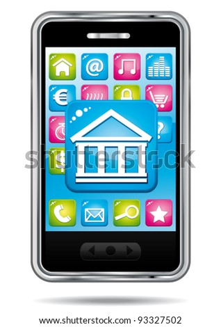 Smartphone with stock exchange application. Vector finance icon.