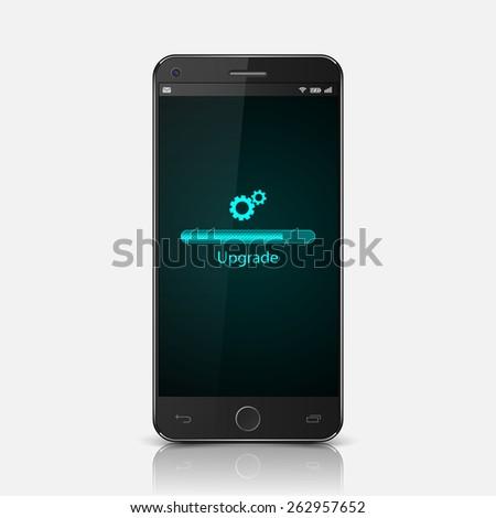 Smartphone with upgrade screen,vector